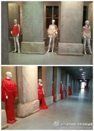 北京孔庙碑林摆放几十个红衣女模引争议.jpg